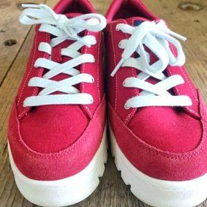 Red skechers suede sneakers